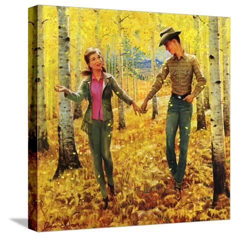 """""""Walk in the Forest"""", October 18, 1952-John Clymer-Stretched Canvas Print"""