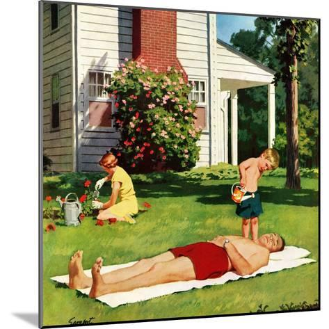"""Watering Father"", June 4, 1955-Richard Sargent-Mounted Giclee Print"
