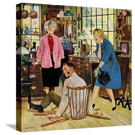 """Broken Antique Chair"", June 20, 1959-John Falter-Stretched Canvas Print"