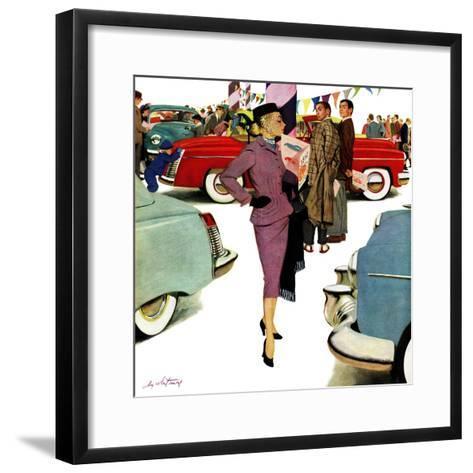"""Woman in Showroom"", January 5, 1952-M^ Coburn Whitmore-Framed Art Print"
