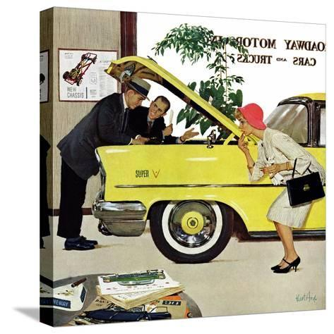 """""""Checking it Out"""", November 15, 1958-Kurt Ard-Stretched Canvas Print"""