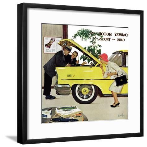 """""""Checking it Out"""", November 15, 1958-Kurt Ard-Framed Art Print"""