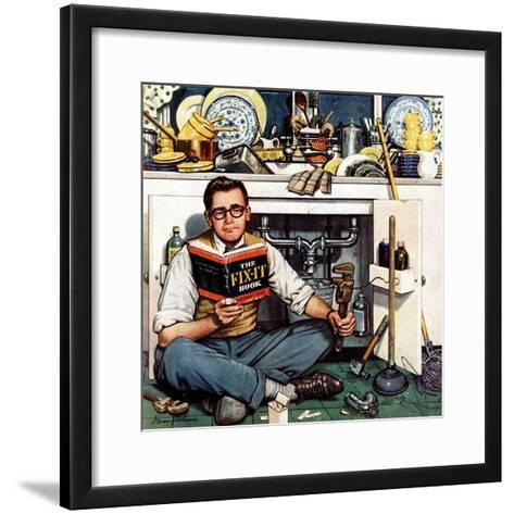 """""""Mr. Fix-It"""", January 14, 1956-Stevan Dohanos-Framed Art Print"""