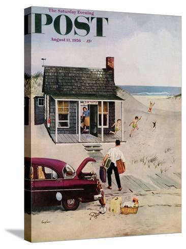 """""""First Day at the Beach"""" Saturday Evening Post Cover, August 11, 1956-George Hughes-Stretched Canvas Print"""