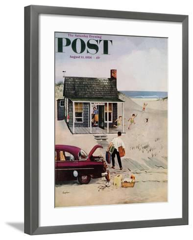 """""""First Day at the Beach"""" Saturday Evening Post Cover, August 11, 1956-George Hughes-Framed Art Print"""