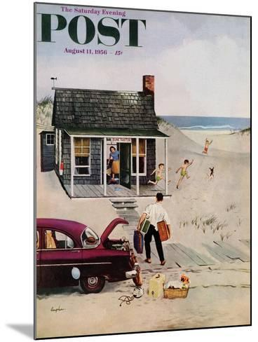 """""""First Day at the Beach"""" Saturday Evening Post Cover, August 11, 1956-George Hughes-Mounted Giclee Print"""