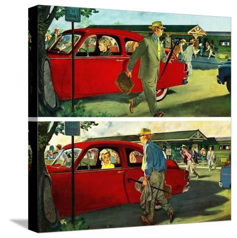 """Coming and Going to Work"", June 28, 1952-Thornton Utz-Stretched Canvas Print"