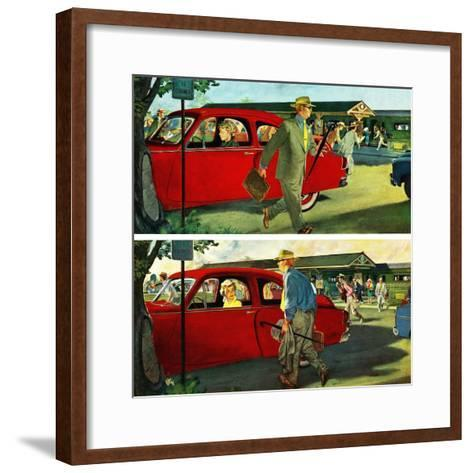 """Coming and Going to Work"", June 28, 1952-Thornton Utz-Framed Art Print"