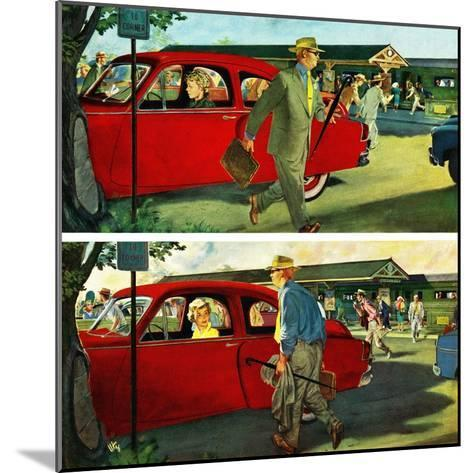 """Coming and Going to Work"", June 28, 1952-Thornton Utz-Mounted Giclee Print"