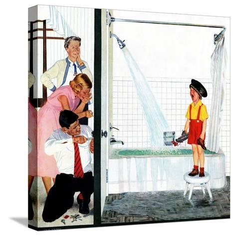 """""""Overflowing Tub"""", December 3, 1955-John Falter-Stretched Canvas Print"""