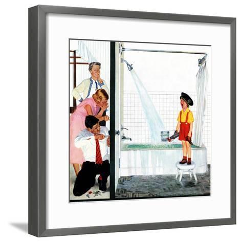 """Overflowing Tub"", December 3, 1955-John Falter-Framed Art Print"