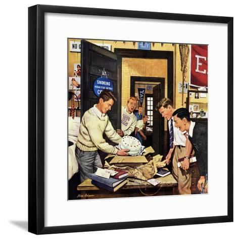 """""""Package from Home"""", February 3, 1951-Stevan Dohanos-Framed Art Print"""