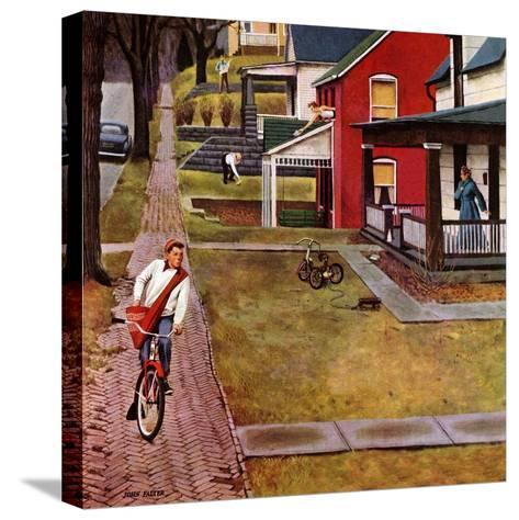 """Paperboy"", April 14, 1951-John Falter-Stretched Canvas Print"