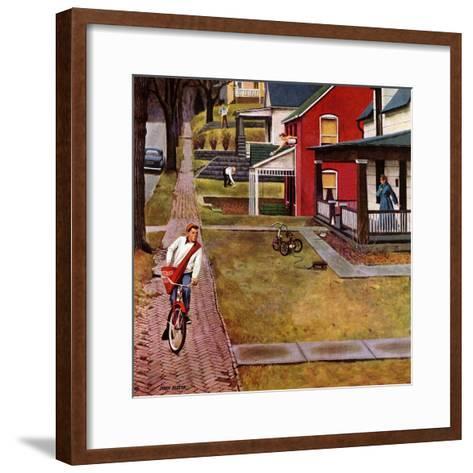 """""""Paperboy"""", April 14, 1951-John Falter-Framed Art Print"""