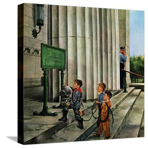 """Public Aquarium"", May 15, 1954-George Hughes-Stretched Canvas Print"