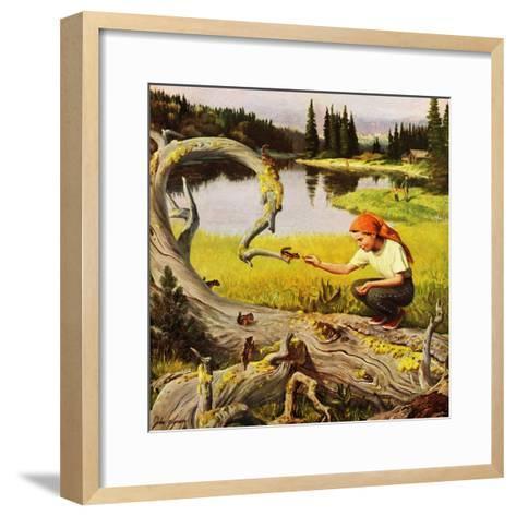 """""""Feeding Chipmunks"""", May 16, 1953-John Clymer-Framed Art Print"""