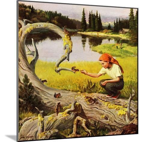"""Feeding Chipmunks"", May 16, 1953-John Clymer-Mounted Giclee Print"