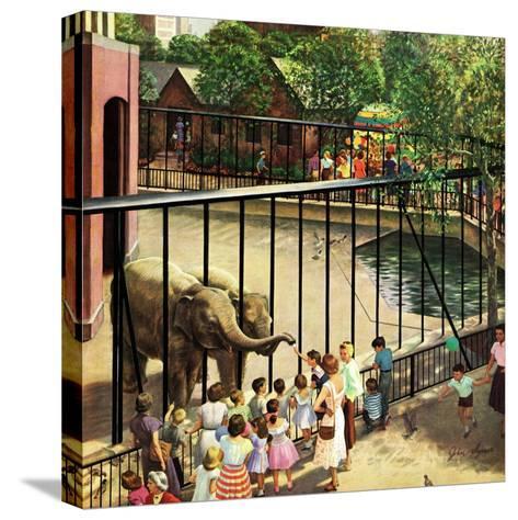 """Feeding the Elephants"", July 25, 1953-John Clymer-Stretched Canvas Print"