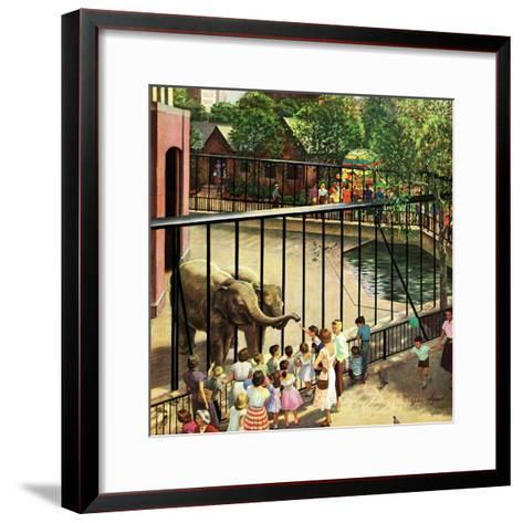 """""""Feeding the Elephants"""", July 25, 1953-John Clymer-Framed Art Print"""
