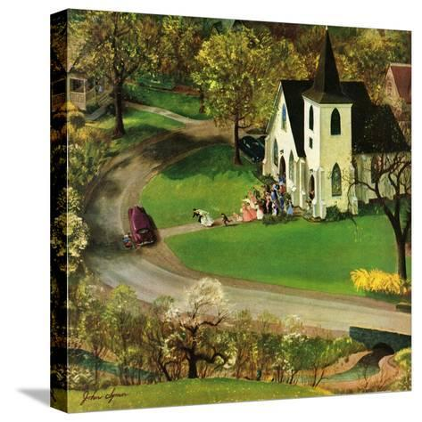 """""""Rural Wedding"""", May 29, 1954-John Clymer-Stretched Canvas Print"""