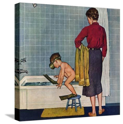 """""""Scuba in the Tub"""", November 29, 1958-Amos Sewell-Stretched Canvas Print"""