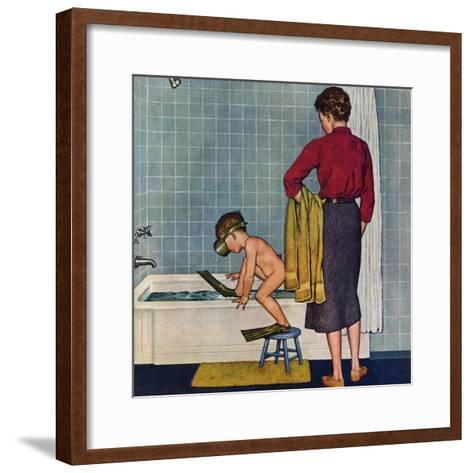 """Scuba in the Tub"", November 29, 1958-Amos Sewell-Framed Art Print"