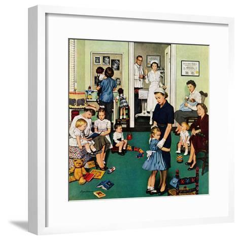 """""""Separation Anxiety"""", September 3, 1955-Stevan Dohanos-Framed Art Print"""
