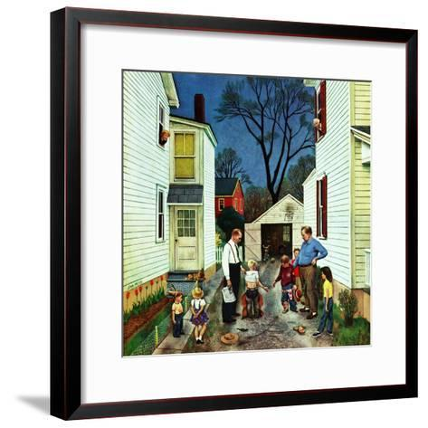 """""""Shaking Hands after the Fight"""", May 5, 1951-John Falter-Framed Art Print"""