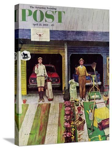 """Saturday Rain"" Saturday Evening Post Cover, April 25, 1959-Earl Mayan-Stretched Canvas Print"