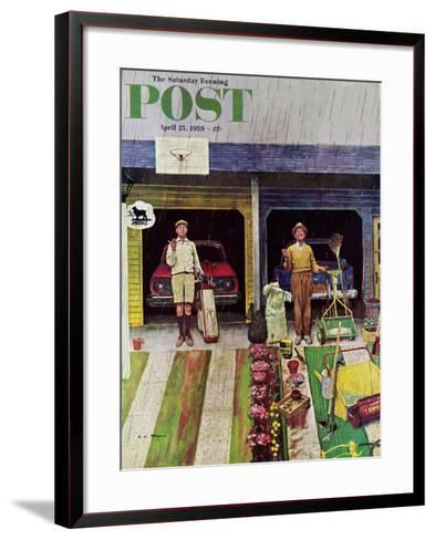 """Saturday Rain"" Saturday Evening Post Cover, April 25, 1959-Earl Mayan-Framed Art Print"