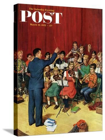 """""""School Orchestra"""" Saturday Evening Post Cover, March 22, 1952-Amos Sewell-Stretched Canvas Print"""