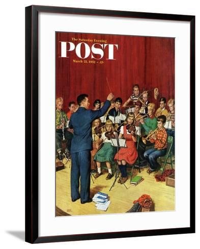 """""""School Orchestra"""" Saturday Evening Post Cover, March 22, 1952-Amos Sewell-Framed Art Print"""