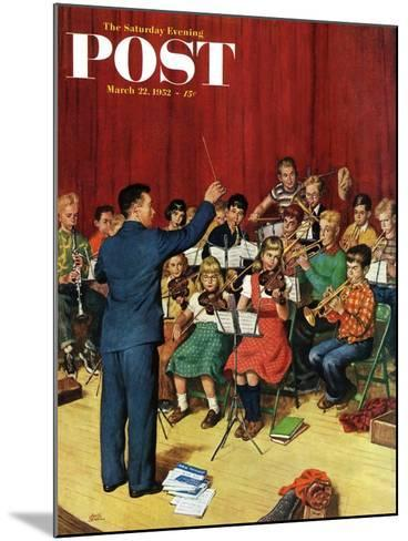 """""""School Orchestra"""" Saturday Evening Post Cover, March 22, 1952-Amos Sewell-Mounted Giclee Print"""