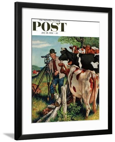 """Surveying the Cow Pasture"" Saturday Evening Post Cover, July 28, 1956-Amos Sewell-Framed Art Print"