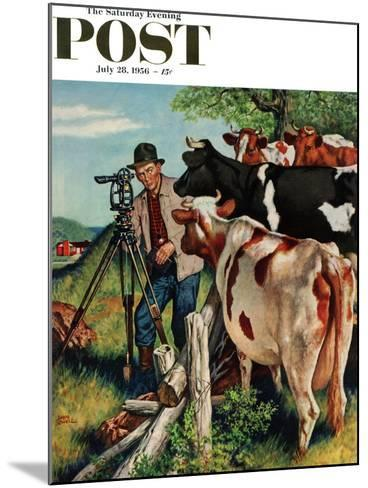 """Surveying the Cow Pasture"" Saturday Evening Post Cover, July 28, 1956-Amos Sewell-Mounted Giclee Print"