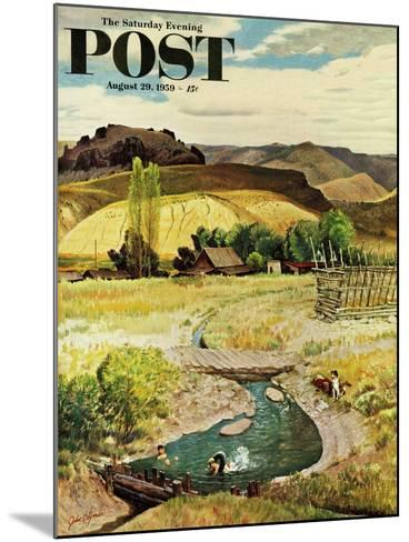 """""""Swimming in the Creek"""" Saturday Evening Post Cover, August 29, 1959-John Clymer-Mounted Giclee Print"""