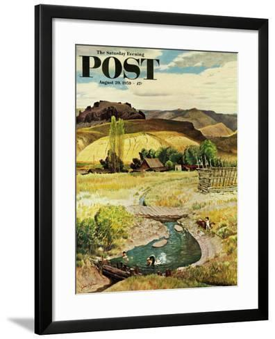 """""""Swimming in the Creek"""" Saturday Evening Post Cover, August 29, 1959-John Clymer-Framed Art Print"""