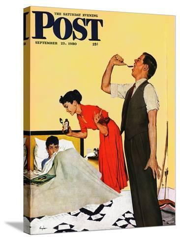 """""""Take Your Medicine"""" Saturday Evening Post Cover, September 23, 1950-George Hughes-Stretched Canvas Print"""