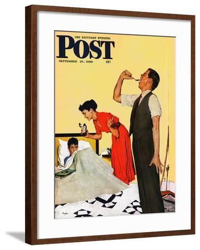 """Take Your Medicine"" Saturday Evening Post Cover, September 23, 1950-George Hughes-Framed Art Print"