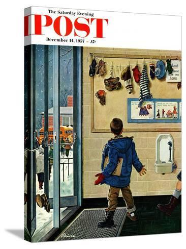 """Lost His Mitten"" Saturday Evening Post Cover, December 14, 1957-Ben Kimberly Prins-Stretched Canvas Print"