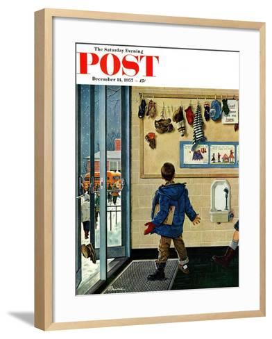 """Lost His Mitten"" Saturday Evening Post Cover, December 14, 1957-Ben Kimberly Prins-Framed Art Print"