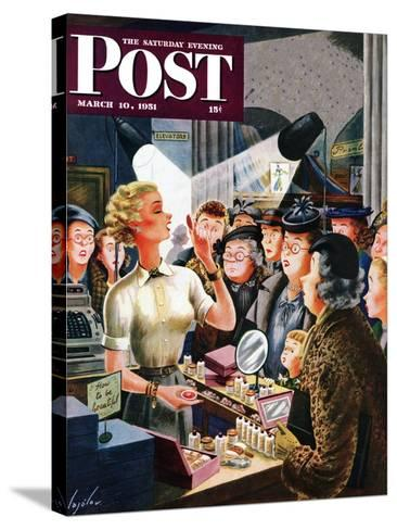 """Makeup Counter"" Saturday Evening Post Cover, March 10, 1951-Constantin Alajalov-Stretched Canvas Print"