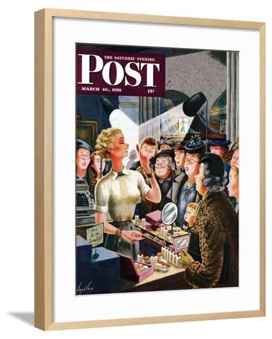 """Makeup Counter"" Saturday Evening Post Cover, March 10, 1951-Constantin Alajalov-Framed Art Print"