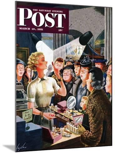 """Makeup Counter"" Saturday Evening Post Cover, March 10, 1951-Constantin Alajalov-Mounted Giclee Print"