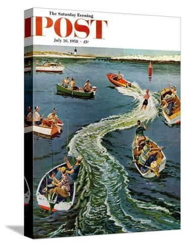 """""""Making a Wake"""" Saturday Evening Post Cover, July 26, 1958-Ben Kimberly Prins-Stretched Canvas Print"""