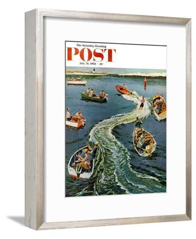 """""""Making a Wake"""" Saturday Evening Post Cover, July 26, 1958-Ben Kimberly Prins-Framed Art Print"""