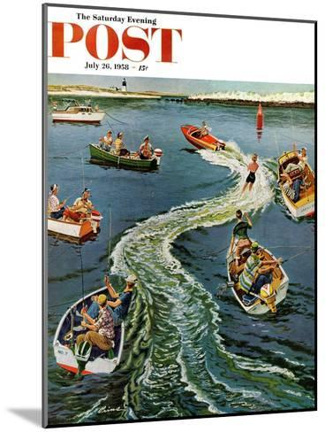 """""""Making a Wake"""" Saturday Evening Post Cover, July 26, 1958-Ben Kimberly Prins-Mounted Giclee Print"""