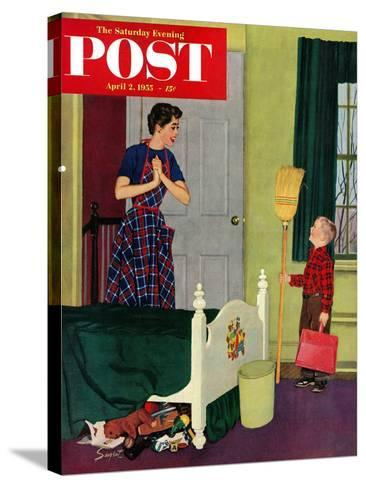 """""""Mom, I Cleaned My Room!"""" Saturday Evening Post Cover, April 2, 1955-Richard Sargent-Stretched Canvas Print"""