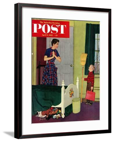 """""""Mom, I Cleaned My Room!"""" Saturday Evening Post Cover, April 2, 1955-Richard Sargent-Framed Art Print"""