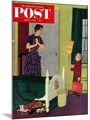"""""""Mom, I Cleaned My Room!"""" Saturday Evening Post Cover, April 2, 1955-Richard Sargent-Mounted Giclee Print"""